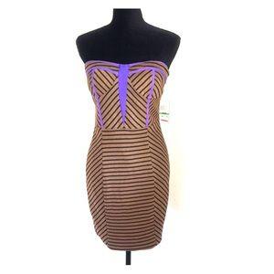 NWT Bar III Black/Tan Strapless Women's Dress