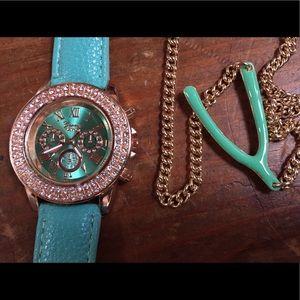 Jewelry - Mint Geneva watch and enameled wishbone necklace