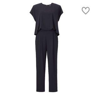 Uniqlo Pants - Uniqlo Olive Jersey Short-Sleeve Jumpsuit