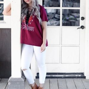 [NEW]: Rock N' Roll In My Heart Lace-Up Top