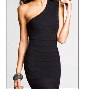 Express one shoulder black bandage dress
