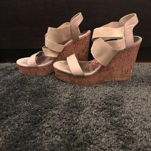 Shoes - Gently worn nude foot hugging wedges