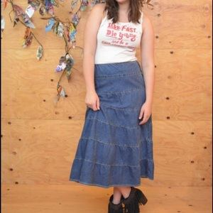 A-line Maxi Denim Jean Skirt Size 6/8