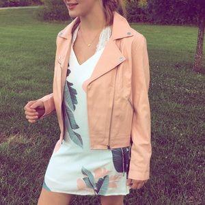 Pink Faux Leather Moto Jacket
