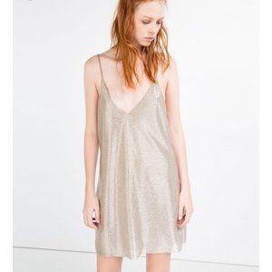 Gold Zara Dress Size 6