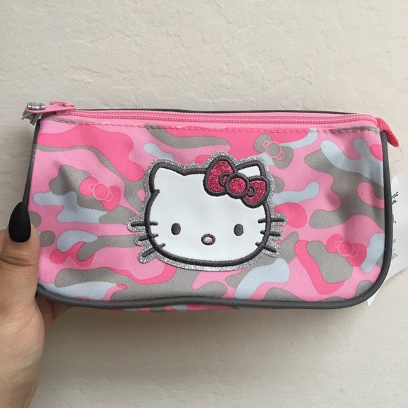 f5aeddbf46d Hello Kitty Bags   Camo Print Cosmetic Case Nwt   Poshmark