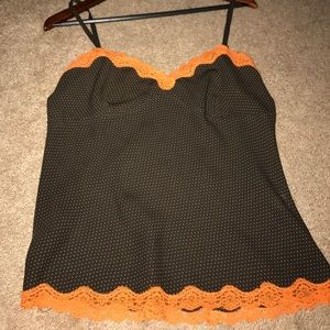 Brown polka dot cami with orange lace trim!