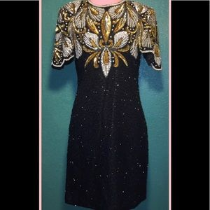 Laurence Kozar Vintage 100% Silk Beaded Dress PM