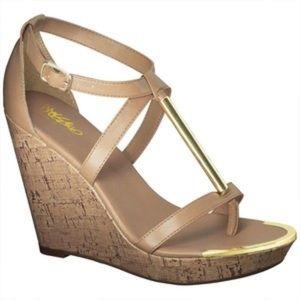 Nude gold bar platform wedge sandals heels