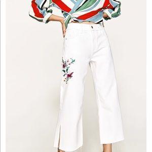 Zara white embroidered culotte jeans 2017