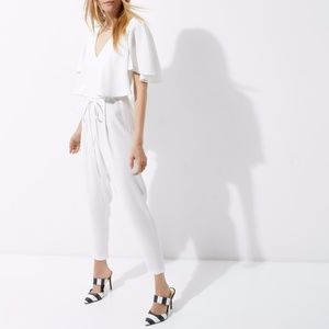River Island Pants - River Island White Satin Cape Tapered Jumpsuit NWT