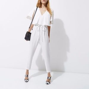 River Island White Satin Cape Tapered Jumpsuit NWT