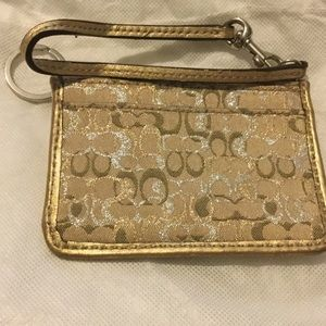 Coach gold ID and credit card with wristlet