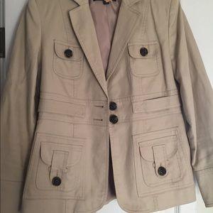 Anne Klein Beige Cotton Blend Jacket Sz 6P