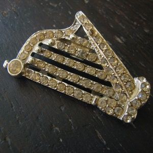 Harp Brooch - old with rhinestones great find