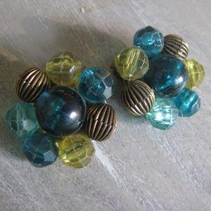 Green  and brass stripe caviar bead earrings vtg