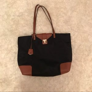 {Tory Burch} large brown leather & Blk nylon tote