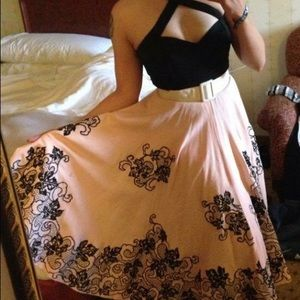 Dresses & Skirts - Vintage 50's soft pink and velvet skirt