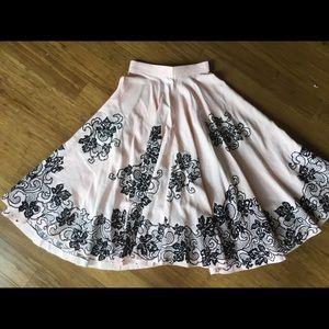 Dresses & Skirts - Vintage 50's soft pink and velvet skirt