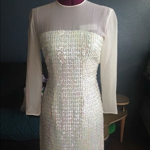 Dresses & Skirts - Vintage 50's white iridescent sequin dress