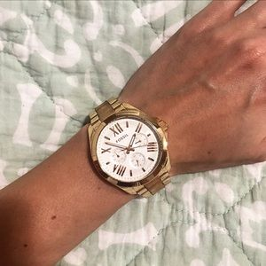 Fossil Gold Stainless Steel Watch with Leather