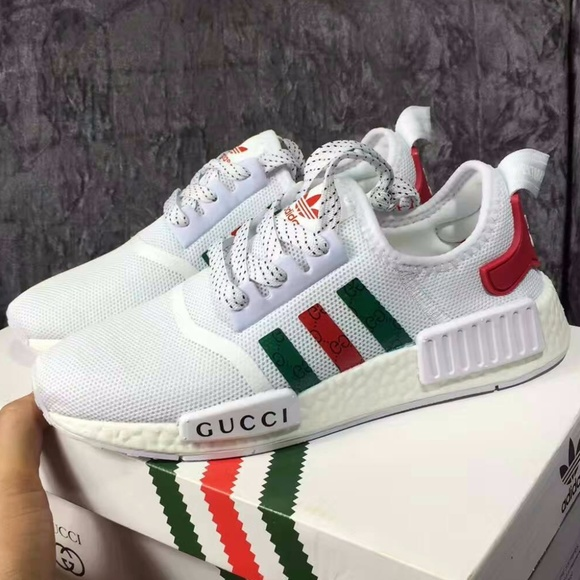 Elucidación fax Compañero  Adidas NMD R1 Boost Shoes | Adidas Nmd X Gucci White Color Men Customs |  Poshmark