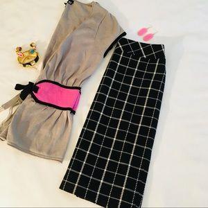 Black & White Checkered Plaid Skirt