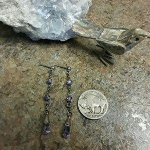 Vintage Sterling & Amethyst Earrings