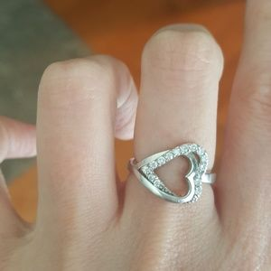 Jewelry - Sterling silver double heart ring size 7/8