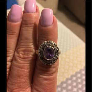 Jewelry - Vintage Sterling Silver, Amethyst, Marcasite Ring