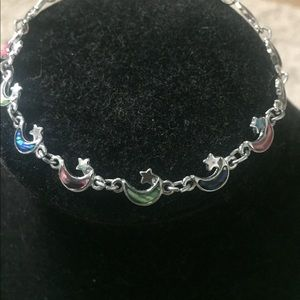 Jewelry - MOON AND STARS SILVER BRACELET, multi-colored.