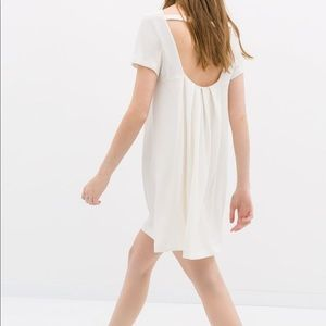 Zara White Dress Bow on Back Size S