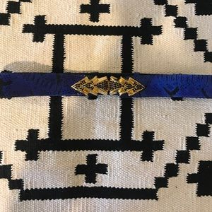 Raina blue black snakeskin leather cinch belt