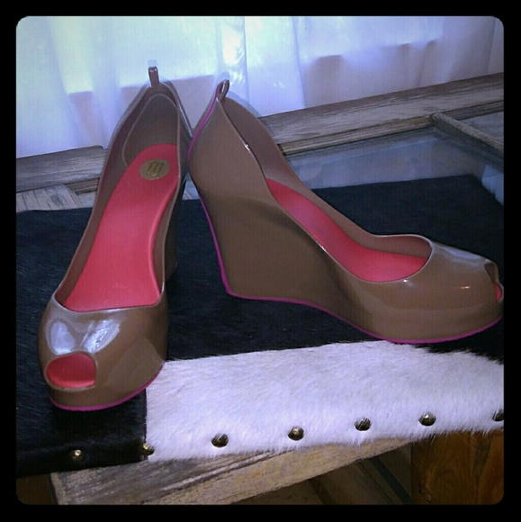 a109cae3d88 Melissa Patchouli V wedge tan and pink wedge heels