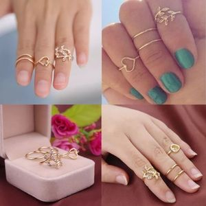 ♡ Crystal Heart ♡ Midi Rings Set