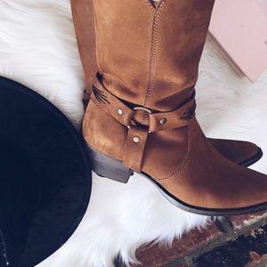 Retro Vintage Cowboy Harness Leather Heel Boots 7