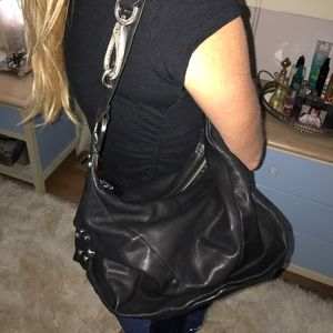 Black leather adjustable length Kenneth Cole bag