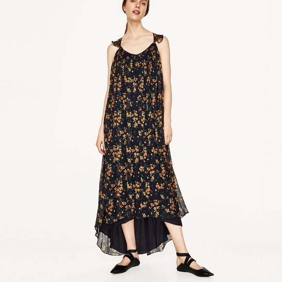 48e1dbc1 Zara Dresses | Long Strappy Dress With Frill | Poshmark