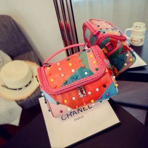 Handbags - ⭐️HP Studded Leather Patchwork Crossbody Bag