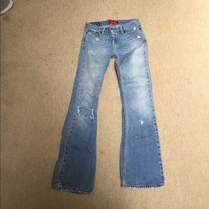 Hollister ripped jeweled jeans