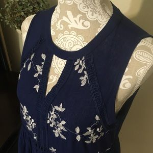 Dresses & Skirts - Navy Blue High Low Embroidered Dress