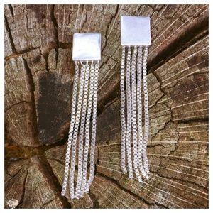 Square Silver Post Earrings W/ Dangle Chain Links