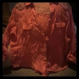 Other - Girls button up rolled sleeve shirt