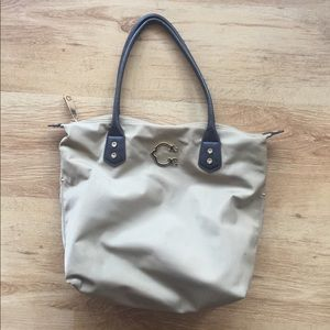 C Wonder Tan With Leather Handles Tote Bag Purse