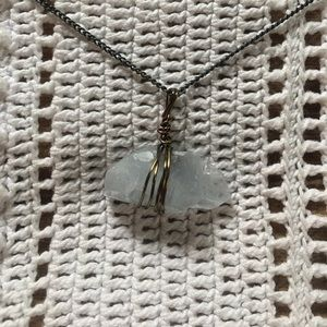 Celestine crystal hand-wrapped pendant necklace