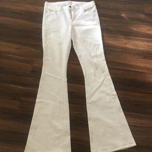 Denim - Le high Frame designer white flare jeans