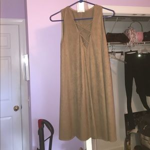 Dresses & Skirts - brown suede lace up dress