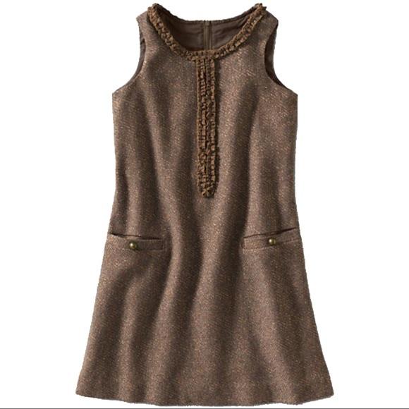 5c03e7c4aaeab Land's End Girls Gold Sparkle Tweed Jumper Dress NWT