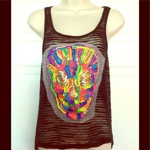 Tops - Woven skull day of the dead colorful black tunic