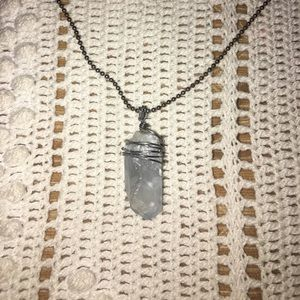 Hand-wrapped Celestine crystal pointed pendant
